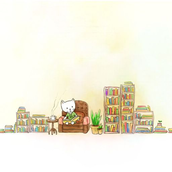 A cat reading books [LG Home]