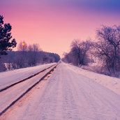 Snowy road wallpaper